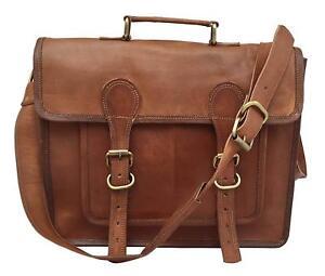 """16"""" Custom Vintage Briefcase Satchel Leather Laptop Messenger Bag Shoulder Men"""