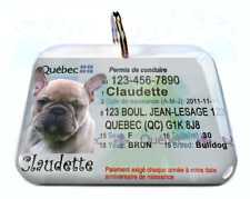 Quebec Canada Driver License Canadian dog cat tag custom by Id4Pet
