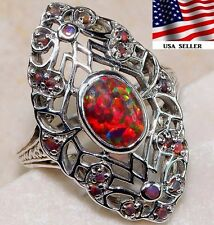 2CT Red Fire Opal 925 Solid Sterling Silver Art Deco Ring Jewelry Sz 8, F7-9