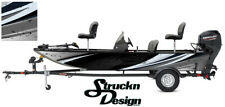 Grunge Graphic Abstract Design Wrap Fishing Bass Boat Black Vinyl Decal USA Kit