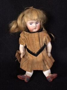 """Antique All Porcelain Bisque Doll 5"""" original Untouched Real Hair Painted Face"""