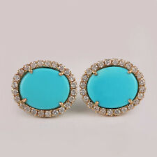 Real 2.23 Ct. Turquoise Stud Earrings Diamond Pave 14K Yellow Gold Fine Jewelry