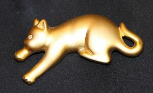 Gold Pouncing Cat Pin With Rhinestone Eye