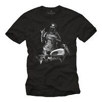 Biker Herren T-Shirt mit Sexy Pin Up Girl & Chopper - Männer Motorrad Helm Shirt