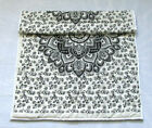 Indian Black Floral Mandala Baby Quilt Handmade Reversible B/W Ombre Coverlet