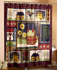 Rustic Primitive Shower Curtain Fabric Bathroom Decor Idea Country Hearts Stars