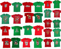 Kids Boys Girls Christmas Xmas T Shirt Tree 100% Cotton Red Green Size 0-16 NEW