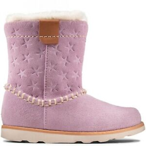 BNIB Clarks Crown Piper Toddler Lilac Suede Boots