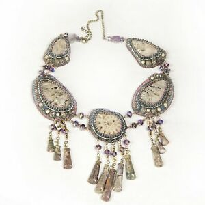 Chic handmade necklace embroidered with amonite, moon stone and beads