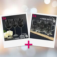 Personalised Favours Set of 6 Customised Wedding Glasses - 3 Wine / 3 Beer Mugs