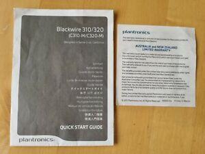 Quick Start Guide for Plantronics C310-M / C320-M Blackwire. Instruction User