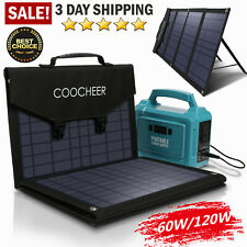COOCHEER Solar Panel 60W/120W Portable Foldable for Power Station Generator #