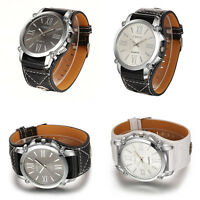 New Mens Retro Punk Rock Big Dial Wide Leather Band Bracelet Cuff Wrist Watches#