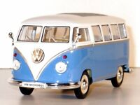 VW Volkswagen T1 Classical Bus - 1962 - blue / white - WELLY 1:24