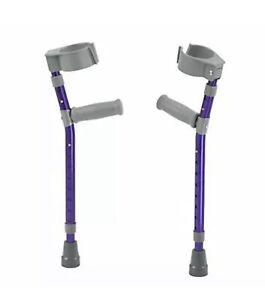 NEW Drive Medical Pediatric Forearm Crutch Pair w/ Cuffs Walking Small (Purple)