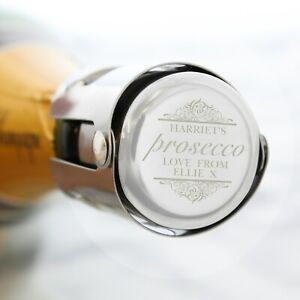 Personalised Prosecco Bottle Stopper Engraved Birthday Wedding Mothers Day Gift