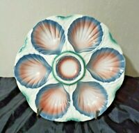 ⭐ Antique RARE French Majolica Oyster Plate SARREGUEMINES Digoin France 1940