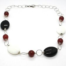 Necklace Silver 925, Agate White, Onyx, Carnelian, Chain Rolo ' Worked