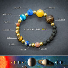 Solar System Bracelet. Healing Jewellery Gemstones. Universe Planets Beads.