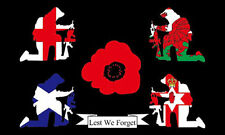 BRITAIN REMEMBERS LEST WE FORGET FLAG Poppy WW1 WW2  RAF British Army Royal Navy