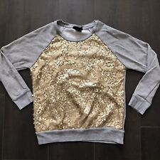 flowers by zoe Sweatshirt Grey With Gold Sequins Size 8 M