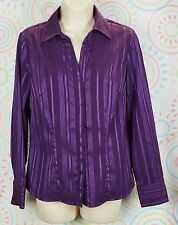 Croft & Barrow Women Long Sleeve Business Work Shirt Size S Small Purple  EUC