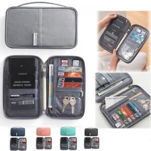 Family Passport Holder Travel Wallet Document ID Card Ticket Organizer Bag Purse