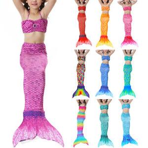 3X/Set Kids Girls Mermaid Tail Swimmable Swimming Swimwear Swimsuit Swim Costume