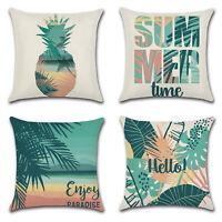 Summer Theme Throw Pillow Case Green Tropical Cushion Cover Sofa Car Home Decor