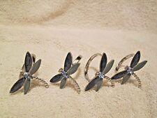 Dragonfly Napkin Rings set of 4 Enamel & Rhinestone teal & green unbranded