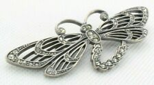 - White Rhinestones - Silver Tone Brooch Pin - Dragonfly - Filigree Wings