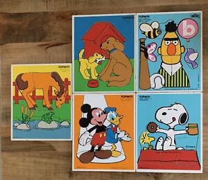 5 Vintage Playskool Wood Puzzles - Mickey Snoopy Sesame Street