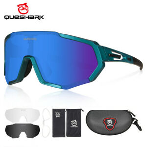 Queshark 2020 New Polarized Cycling Sunglasses Bike Glasses Goggles with 3 Lens