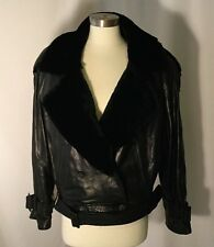 ANDREW MARC BLACK LEATHER FUR SHORT WAISTED SIZE MEDIUM WARM BELTS NEW