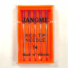 Janome 5 Pk. Red Tip Embroidery Sewing Machine Needles Size 14 (90/14)