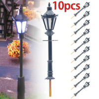 10Pcs Model Street Lights Scale 1:75 Railway 3V LED Lamppost Patio Lamps