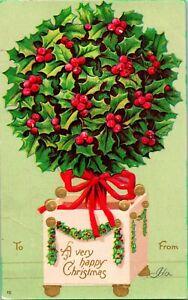 1900s Postcard UDB Very Happy Christmas Holly Ball International Art Embossed