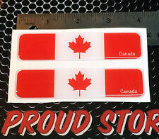 "Canada Flag Proud Domed Decal Car Emblem Flexible 3D 4""x1"" Set of 2 Sticker"