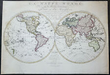 1827 Herisson Large Rare Original Antique Twin Hemisphere World Map, Capt J Cook