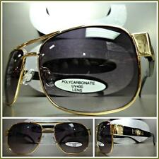 Mens or Women CLASSIC VINTAGE RETRO Style SUN GLASSES Gold & Black Fashion Frame