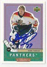 99/00 UD Retro Autographed Hockey Card Mark Parrish Florida Panthers