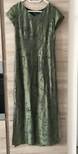 100% Pure Silk Olive Green Ladies Lined Long Dress Size M 8-10 Brand New