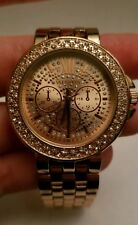 Ladies Formal Rose gold Fashion Wide Face Analog Watch with Rhinestones