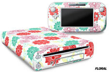 Skin Decal Wrap for Nintendo Wii U Gaming Console & Controller Sticker FLOR