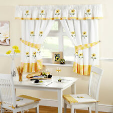 "SUNFLOWER YELLOW EMBROIDERED GINGHAM KITCHEN CURTAINS 46"" X 48"""
