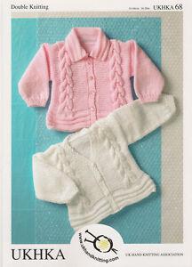 UKHKA baby childs DK cardigans knitting pattern 68