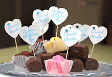 CHRISTENING CUP CAKE FLAGS 10 PERSONALISED DECORATIONS FLAGS CHRISTENING GIFT