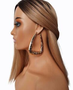 Gold tone oversized triangle shaped creole style hoop earrings - 9cm big hoops