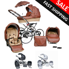 Baby Pram Stroller Buggy Pushchair Seat Classic Retro Style 3in1 Travel system