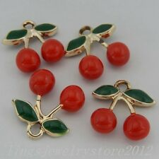 Colorful Copper Charming Red Cherry Charms Pendants Findings Crafts 6x 50333